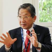 Nissan Motor Co. Vice Chairman Toshiyuki Shiga is interviewed in Singapore on Friday. | KYODO