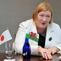 Edwina Hart, economy minister of the Welsh Assembly, speaks to The Japan Times in Tokyo on Friday. | YOSHIAKI MIURA