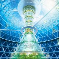 Shimizu Inc. foresees a floating sphere 500 meters wide housing residential complexes and businesses. It believes the technology may exist by 2030. | AFP-JIJI