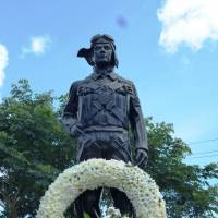 The kamikaze monument at the former Mabalacat East Airfield is seen on Oct. 25. The statue honors the young men whose dedication local enthusiast Daniel Dizon argues Filipinos would do well to learn from. | KYODO
