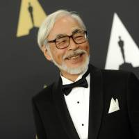 Animated film director Hayao Miyazaki arrives for the Academy of Motion Picture Arts and Sciences' sixth annual Governors Awards at the Hollywood and Highland Center in Los Angeles on Saturday. | AP