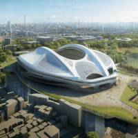 A revised design of New National Stadium Japan, the main venue for the 2020 Tokyo Summer Olympics, is shown in a computer rendering. | JAPAN SPORT COUNCIL / KYODO