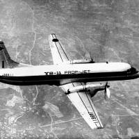 The first YS-11 makes its maiden test flight from Nagoya airport in August 1962. | KYODO