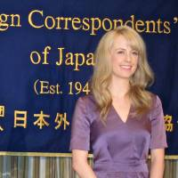 Trailblazing role: Ken Sakurai, the lead producer of 'Massan,' and Charlotte Kate Fox, who plays Ellie Kameyama in the NHK morning drama, appear at the Foreign Correspondents' Club of Japan in Tokyo last week. | LOUISE GEORGE KITTAKA