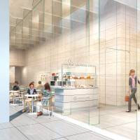 An artist's rendering of a cafe that will be housed in the new museum's wing  | TOKYO METROPOLITAN TEIEN ART MUSEUM