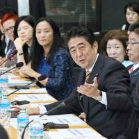 Speaking his mind: Prime Minister Shinzo Abe speaks during a session of the World Assembly for Women in Tokyo in September.   KYODO