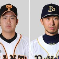 Top honors: Yomiuri Giants right-hander Tomoyuki Sugano (left) and Orix Buffaloes ace Chihiro Kaneko were selected as pitchers for the Central and Pacific Leagues' Best IX Awards on Thursday. | KYODO