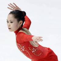 Promising future: Satoko Miyahara performs her free program at the NHK Trophy on Saturday. The 16-year-old placed third with 179.02 points.   KYODO