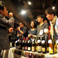 Here's to the vine: Wines are readied for sampling at a previous Festivin event. courtesy of festivin