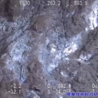 A maritime probe conducted by the government in 2013 shows concentrations of methane hydrate (brighter portions) in the seabed off Joetsu, Niigata Prefecture. | MINISTRY OF ECONOMY, TRADE AND INDUSTRY/KYODO