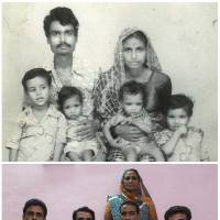 Top: Lata Bai (top right) is seen with her husband, Ashok Badgujjar, and their sons in an undated family photograph. Bottom: Bai is seen with her four sons in Bhopal on Nov. 12. Bai said that her husband had died as a result of gas poisoning after the 1984 disaster. | REUTERS