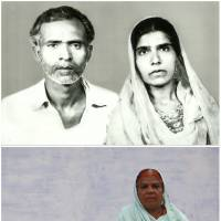 Top: Aamna (right) is seen with her husband, Munawar Ali, in an undated family photograph. Below: Aamna sits alone in Bhopal, India, on Nov. 13. Aamna said that Ali had died as a result of gas poisoning after the 1984 Bhopal disaster. | REUTERS