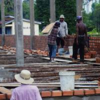 Construction is underway on AMATAK's 19th elementary school, in Cambodia's Kampong Chhnang province, in this image provided by the Tokyo-based NPO.   AMATAK