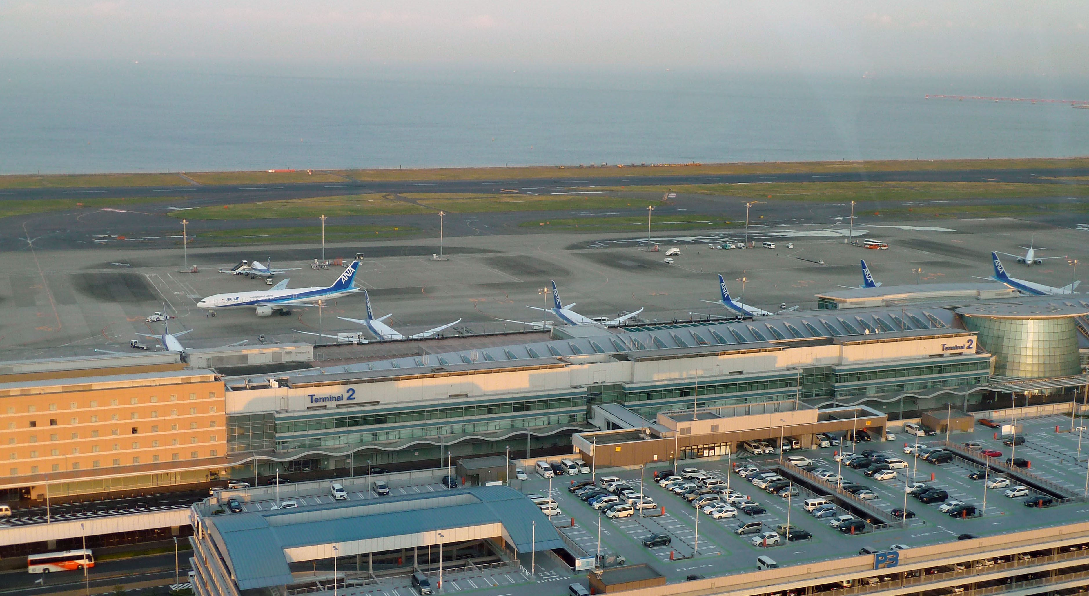 Terminal 2 at Haneda airport in Tokyo is viewed from the control tower on Oct. 21.   KYODO