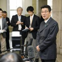 Ichiro Matsui, secretary-general of Ishin no To (Japan Innovation Party), meets the press in the city of Osaka on Monday. | KYODO