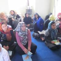 Women from rural areas of Afghanistan attend a literacy course organized by the Kyoto-based Nippon International Cooperation for Community Development (NICCO), as part of the organization's efforts to help women gain financial independence and pursue employment opportunities.   NICCO