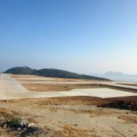 Land development is underway for building a heliport in the Nanji Islands in China's Zhejiang province in November. | KYODO