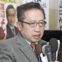 Yoshimi Watanabe, former leader of Your Party, concedes defeat in the Lower House election on Sunday night in Nasushiobara, Tochigi Prefecture. | KYODO