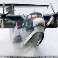 The US-2 amphibious rescue aircraft is among the defense equipment that Japanese companies hope to export. | KYODO