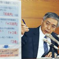Bank of Japan Gov. Haruhiko Kuroda speaks during a news conference at the central bank on Oct. 31. | KYODO