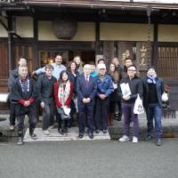 Drink degree: Sake course trainees stand in front of Hirata Shuzojo. | MELINDA JOE