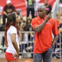 Listening to the legend: Carl Lewis hopes to impart wisdom gained during his incredible career as a sprinter and long jumper as a coach at the University of Houston. | UNIVERSITY OF HOUSTON