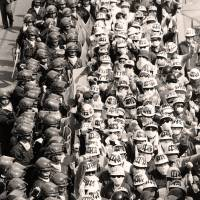 Riot squad: Police guard protesters during a demonstration in Tokyo in April 1986. | AP
