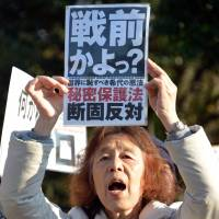 A woman opposing the state secrets law protests during a rally in Tokyo on Dec. 9. | HITOSHI YAMADA/NURPHOTO/SIPA USA