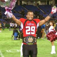 Center of attention: Fujitsu Frontiers running back Gino Gordon was named MVP of the Japan X Bowl on Monday. | KAZ NAGATSUKA