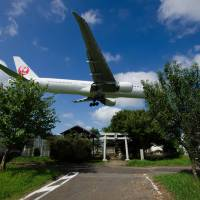Battle overhead: A Japan Airlines airplane flies over a shrine. A new documentary titled 'The Wages of Resistance' looks at the fights that happened during the proposed construction of Narita International Airport. | KAZUHIKO ISHII