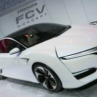 The Honda FCV concept car is revealed to the press at the North American International Auto Show in Detroit on Tuesday. | AFP-JIJI