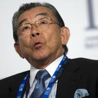 Toyoo Gyohten, president of the Institute for International Monetary Affairs, speaks at the annual meeting of the Institute for International Finance on the sidelines of the International Monetary Fund and World Bank Group meetings in Istanbul on Oct. 4, 2009. | BLOOMBERG