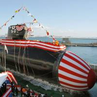 The Maritime Self-Defense Force submarine Soryu is launched at a ceremony at Mitsubishi Heavy Industries Ltd.'s shipyard in Kobe in December 2007. The sophisticated Soryu-class sub is seen as a potential candidate for sale to Australia. | KYODO
