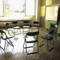 At least 70 people kill themselves every day in Japan. These chairs are for relatives at a discussion session in 2013. | LIFELINK/KYODO
