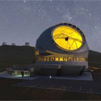An image provided by the National Astronomical Observatory of Japan shows what the world's biggest telescope will look like when it is completed in 2022. | KYODO