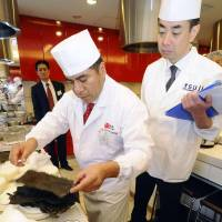 Chefs from eight countries battle to win Japanese food contest