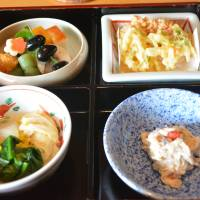 Colorful set: A bento box at Ajikitcho comes loaded with variety.   J.J. O'DONOGHUE