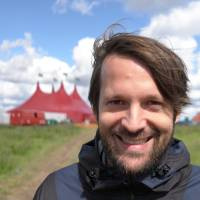 Big top time: Noma chef Rene Redzepi stands in front of the red tent where he holds his MAD food symposiums. | BO BECH