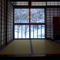 A tatami room offers views of the snowy landscape outside. | MANDY BARTOK