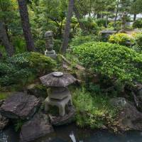 Staged authenticity: A small public park behind the Ohara Museum of Art has been landscaped in the manner of a traditional Japanese garden. | STEPHEN MANSFIELD