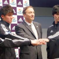 All together now: New F. Marinos manager Erick Mombaerts hopes to help the club get back to winning ways this season.   KYODO
