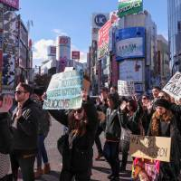 'AAYTP sponsored the event, but we worked together with members of the Tokyo community and the Tokyo Metropolitan Police to organize a safe, peaceful march,' says Amber Richardson, co-founder and president of the African American Youth Travel Program. | NAYALAN MOODLEY (HTTP://DARC.JP)