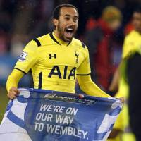 Next stop, Wembley: Spurs' Andros Townsend celebrates after Tottenham's win over Sheffield United on Wednesday. | REUTERS