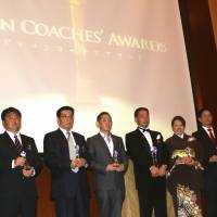 Recognition for their work: Award recipients pose for a photo at the Japan Coaches' Awards last week. | KAZ NAGATSUKA