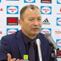 Names in the frame: Japan head coach Eddie Jones speaks at a news conference Monday to announce his provisional 41-man squad for the 2015 Rugby World Cup. | KYODO