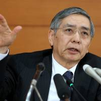 Bank of Japan Gov. Haruhiko Kuroda speaks during a news conference at the central bank's headquarters in Tokyo on Wednesday. Kuroda said he remains ready to adjust monetary policy after the policy board opted to maintain record stimulus.   BLOOMBERG