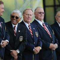 Former Ryder Cup captains (from left) Raymond Floyd, Lee Trevino, Jack Nicklaus, Billy Casper and Dow Fisterwald attend the 2008 Ryder Cup opening ceremonies at Valhalla in Louisville, Kentucky. U.S. golfing great Casper, who had the seventh most PGA Tour wins but was still considered one of the game's most underrated players, died of a heart attack Saturday at the age of 83, ESPN reported. Casper, described as an underdog, was often overlooked for some of his better-known peers despite a long roster of accomplishments on the green. He had a total of 51 PGA Tour wins to his name, but the 'Big Three' — Arnold Palmer, Jack Nicklaus and Gary Player — often dominated headlines and basked in golf glory, despite Casper's feats.   AFP-JIJI