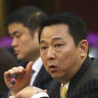 Tycoon Liu Han, then chairman of Hanlong Mining, speaks at a conference in Mianyang, Sichuan province, in this March, 2008 file photo. He was executed on Monday. | REUTERS