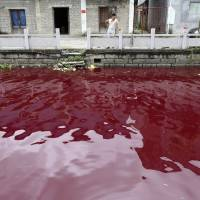 A man looks at a contaminated river in Cangnan county of Wenzhou, Zhejiang province, in this July 24, 2014 file photo.    REUTERS