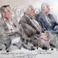 A court sketch shows (from left) defendants French businessman Fabrice Paszkowski, former French IMF chief Dominique Strauss-Kahn and ex-director of the BTP Eiffage construction group subsidiary David Roquet during their trial in the 'Carlton Case' at the courthouse of Lille, northern France, on Tuesday. A French prosecutor called for Strauss-Kahn to be acquitted of pimping charges in the trial. | AFP-JIJI